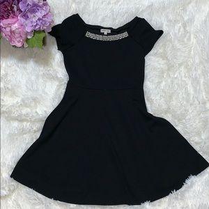 Black Rhinestone/Pearl collar dress size 10 girls